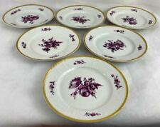 6 x Antique Royal Copenhagen Juliane Marie Mark Purple Flowers Side Plates C1900