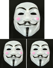 3 pcs V for Vendetta Anonymous Guy Fawkes Masquerade Halloween Mask Pink cheek