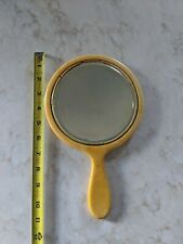 Vintage Mustard Yellow Celluloid Bakelite Hand Held Beveled Glass Vanity Mirror