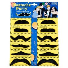 12 Pack Self Adhesive Assorted Fake Moustache / Mustache Set Fancy Dress Pa Q9U7