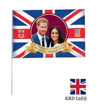 """LARGE ROYAL WEDDING FLAG WITH STICK Prince Harry & Meghan 2018 24""""16 Official UK"""