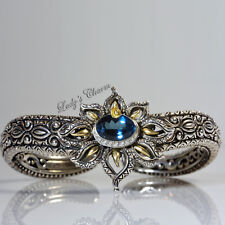 Barbara Bixby Diamond London Blue Topaz Sterling Silver 18K Gold Cuff Bracelet