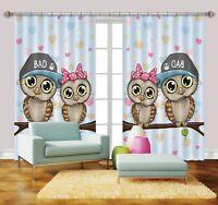 3D Eule Kinder 568  Blockade Foto Vorhang Druckvorhang Vorhänge Stoff Fenster DE