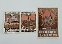 MALCHOW REUTERGELD NOTGELD 10, 25, 50 PFENNIG 1922 NOTGELDSCHEINE (11998)