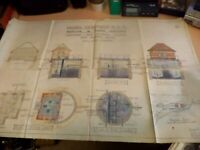 OLD ANTIQUE 1930s art deco architects drawing design plans moreton marsh pumping