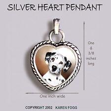 DALMATIAN DOG Cute Face - Ornate HEART PENDANT Tibetan Silver