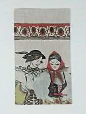 Vintage Polish Folk Dancers Linen Towel Wall Hanging Hand Printed New Old Stock