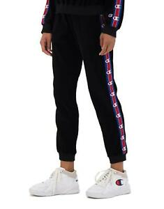 Champion Pants Trousers Woman Black Logo Velvet Vintage