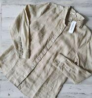 Tommy Bahama Sz Medium Sea Glass Breezer L/S Linen Beige Shirt Women MSRP $99