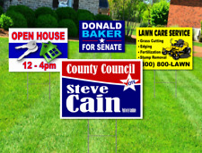 100 18x24 Yard Signs Custom Design Full Color 2 Sided Stakes Included