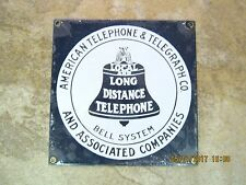 American Telephone & Telegraph Co Bell System Porcelain Over Metal Sign NEW
