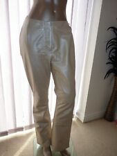 NEXT 12 EUR 40 REAL LEATHER SILVER CREAM LEATHER LEGGINGS STRAIGHT TROUSERS