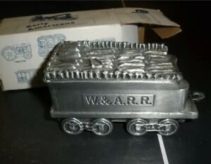 Early Americana Antique Coin Bank Banthrico Inc Wood Tender Train Car metal AAL1