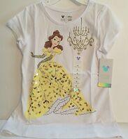 Disney Belle Shirt Girls 6 White Sequined Graphic Beauty & the Beast New