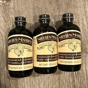 3 Pack Nielsen-Massey Pure Vanilla Extract Madagascar Bourbon 4oz SEALED