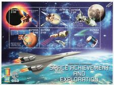 SPACE EXPLORATION (Mars/ISS Shuttle/Giotto/Apollo XI) Stamp Sheet (2000 Guyana)