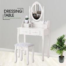 Coiffeuse Blanc avec Tabouret 4 Tiroirs et Miroir Ovale Table de maquillage