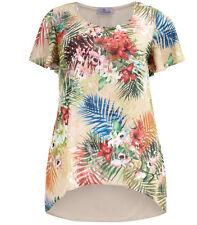 Shirt Gr.50 Tunika Vokuhila Longtop Top Blüten T-Shirt Übergröße Damen Longshirt