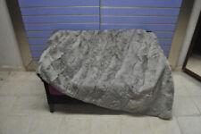 Luxury Gray Astrakhan Skin Fur Throw Real Lamb Fur Blanket / Bedspread