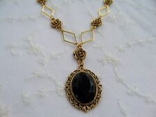 Acrylic Gold Plated Pendant Necklace Dr Victorian Style- Diamond Rose - Black