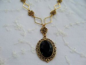 VICTORIAN STYLE- DIAMOND ROSE - BLACK ACRYLIC GOLD PLATED PENDANT NECKLACE DR