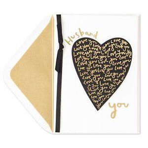 PAPYRUS Love-Filled Heart Valentine's Day Card (For Husband) Elegant Gold Black