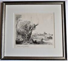 Original print after Rembrandt, 1645 etching, The Omval,  c1970, framed
