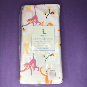Pottery Barn Kids Emmy Monkey Crib Toddler Fitted Sheet White Baby Nursery Bed
