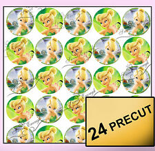 24 Tinkerbell Fairy Edible Wafer Rice Card Cupcake fairy cake Toppers Decoration