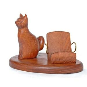 Wooden Hand Carved Stand for Mobile Smartphone Universal Handmade model * CAT *