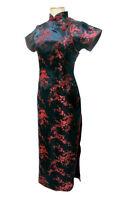 Vtg Women Black/Red Long Chinese Evening Dress Cheongsam Qipao Plus Size S M-6XL