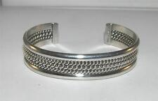 Native American Wide Cuff Bracelet Roping Design Sterling Silver Signed Tahe