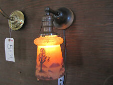 ANTIQUE ORIGINAL PATINA WALL SCONCE WITH REVERSE PAINTED SHADE 6000