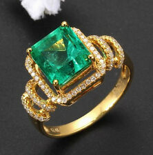 Genuine Natural Green Emerald Engagement Diamonds Ring Solid 14K Yellow Gold