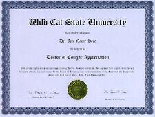 Doctor Cougar Behavior Novelty Diploma Big Cat Predator