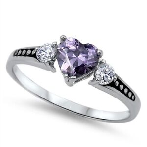 Heart Ring Genuie Sterling Silver 925 Amethyst Clear CZ Face Height 6 mm Size 13