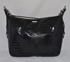 Ralph Lauren Polo Leather Hobo Shoulder Bag Purse Handbag Croco Black New