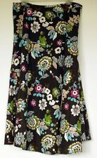 Christopher & Banks Linen Blend Lined Brown Summer Floral Long Skirt 14