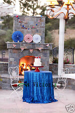 Royal Blue 48'' Round Sequin Table cloth Cover For Wedding/Event/Party/Banquet