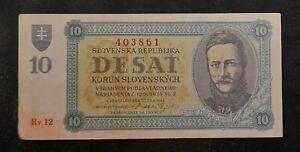 Slovakia 10 Korun 1943. Unfolded banknote, lower left corner defect.