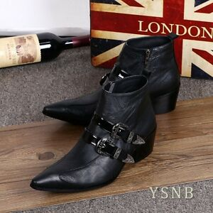British Style Retro Fashion Wedge Leather Boots with Belt Buckle Leather Shoes37
