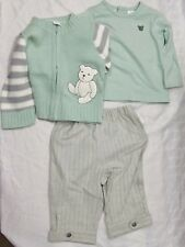 Baby Infant 3 pc Teddy Bear Green Sweater Jacket, Shirt, Gray Pants 3-6 months