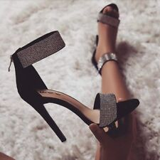 UK Womens Ankle Straps Crystals Diamante High Heel Shoes Ladies Party Sandals