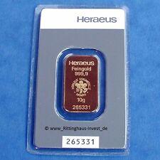 Goldbarren 10g 10 Gramm Feingold Heraeus Blister Gold 99,99 gold bar lingotti