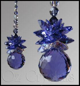 Suncatcher made with 30mm Swarovski Crystal Blue Violet / Purple Ball