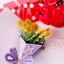 3D Flower Bouquet Paper With Blank Envelope Greeting Invitation Card B
