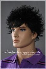 Perücke Schaufensterpuppe Figur Kopf Haare et-w355 Neu schwarz mann wig Perücken