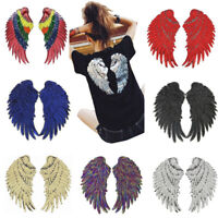 1 Pairs Sequin Angel Wings Embroidered Applique Iron on Sew on Patch DIY