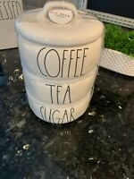 """NEW Rae Dunn """"COFFEE, TEA & SUGAR"""" Large Letter Stackable Canister Set Farmhouse"""