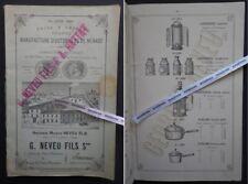 Rare Catalogue NEVEU 1885 Laiterie LANTERNES Vigne Zinc Fer Tôle Saumur